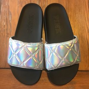 NEW VS PINK Quilted Iridescent Slides Sandals